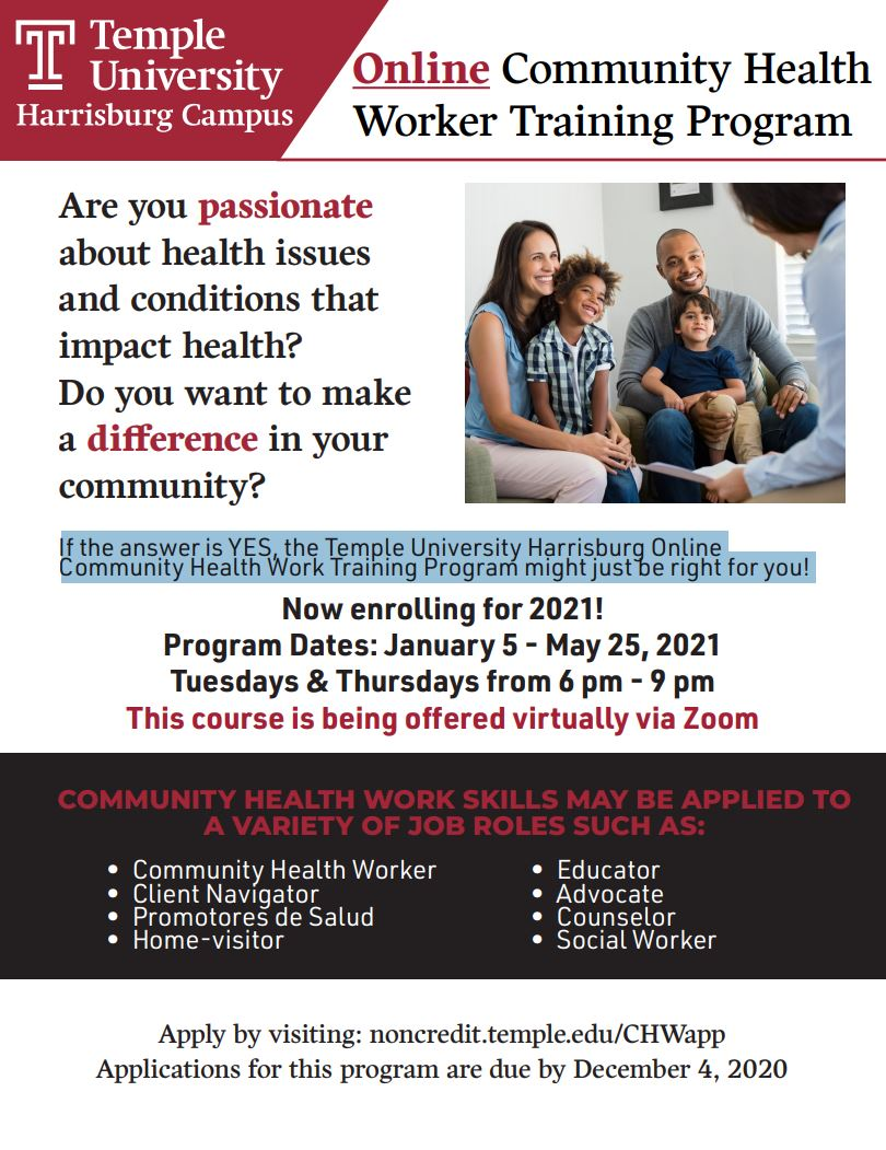 Online Community Health Worker Training Program Course Flyer