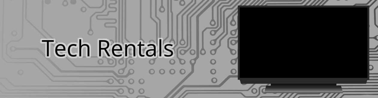 Tech rentals banner with HDTV