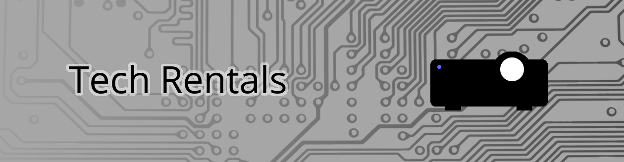 Tech rentals banner with Multimedia Projector