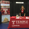 Pam Vierra at Temple Harrisburg expo display