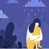 cartoon art of a woman grieving under a cloud