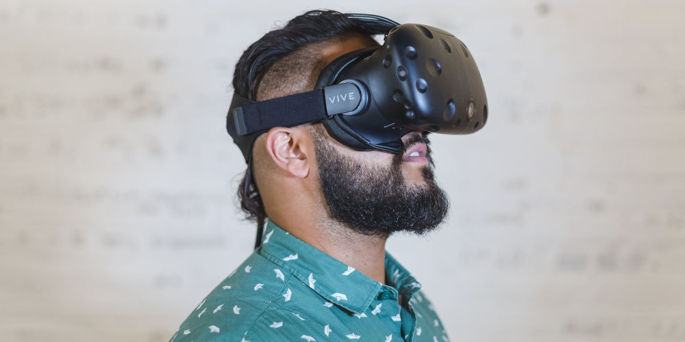 Man in virtual reality headset